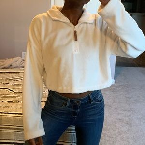 Cropped Fluffy White Urban Outfitters Sweater
